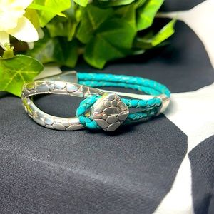 Brighton bracelet silver turquoise leather pull on